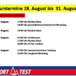 Kurstermine vom 27. bis zum 31. August